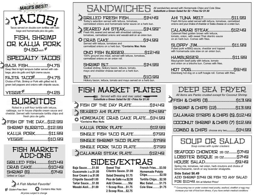 Menu - Fish Market Maui | Maui Seafood | Maui Takeout | Good Grinds